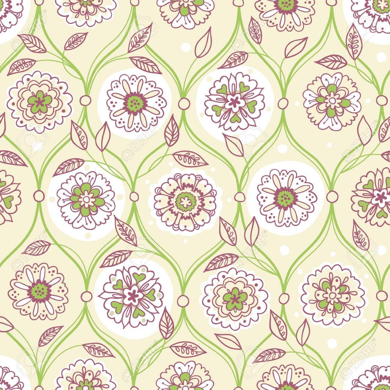 Vector Seamless Pattern Filigree Floral Background Vintage Element For Design In Eastern Style
