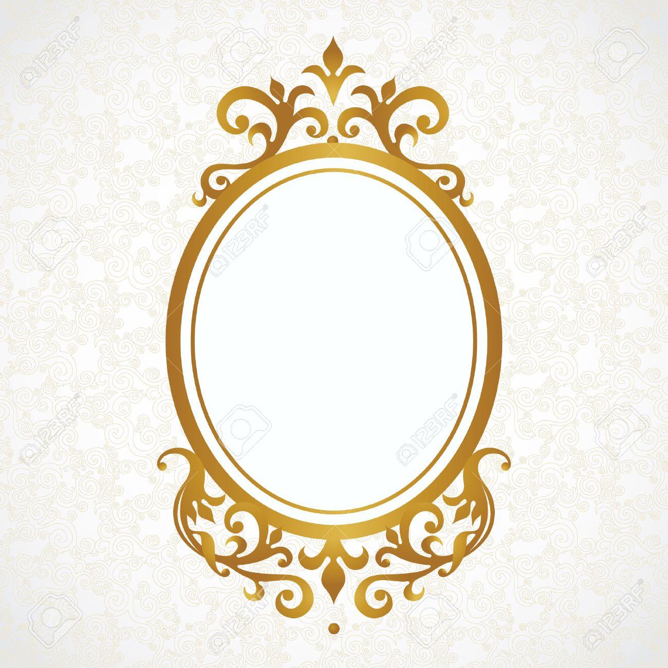 marco dorado barroco vector marco decorativo en estilo victoriano elemento para el diseo elegante