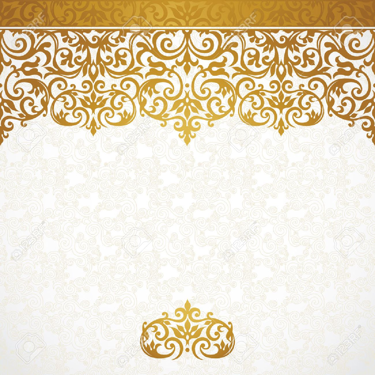Frontera Adornada Inconsútil Del Vector En Estilo Victoriano Magnífico Elemento Para El Diseño Lugar Para El Texto Patrón Ornamental Vintage Para