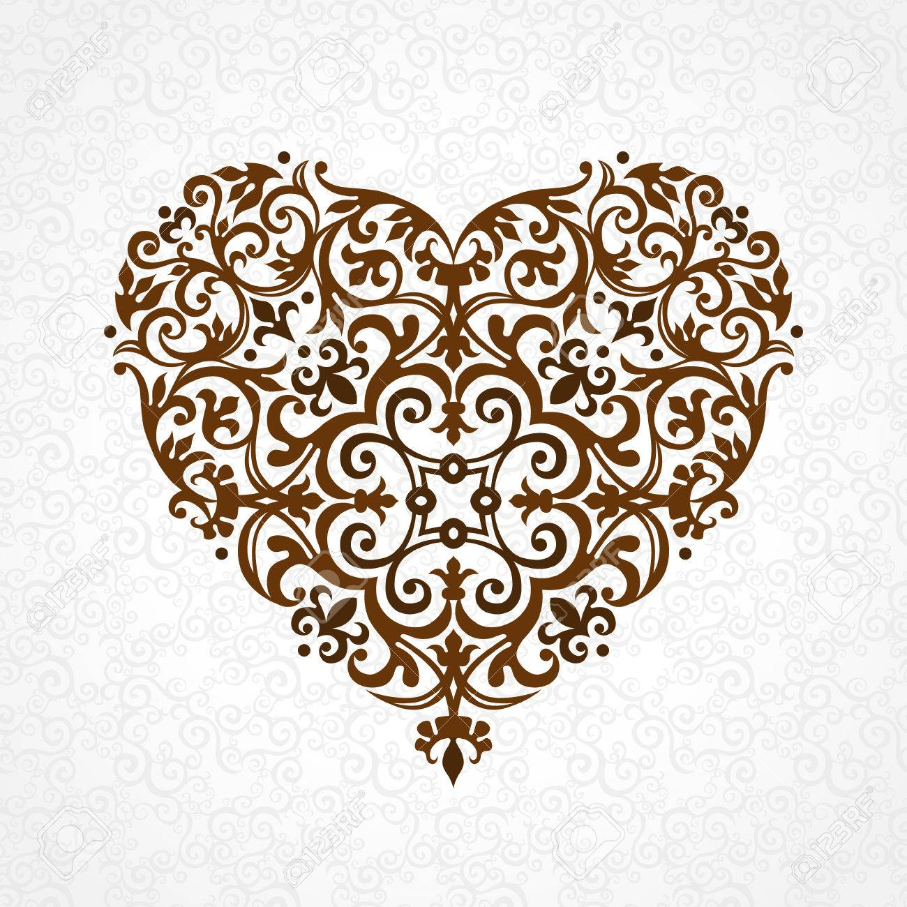 Ornate Vector Heart In Victorian Style Elegant Element For Logo Design Lace Floral Illustration