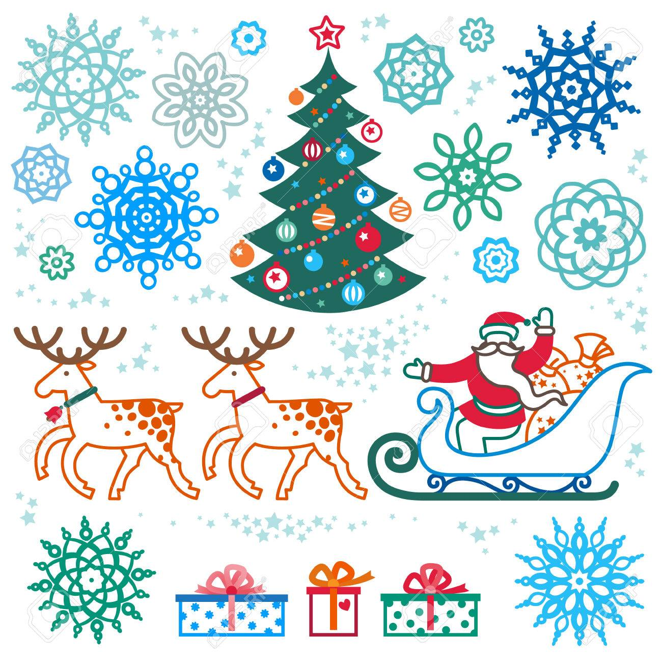 Set Of Christmas Vector Elements, Winter Holidays Icons Collection ...