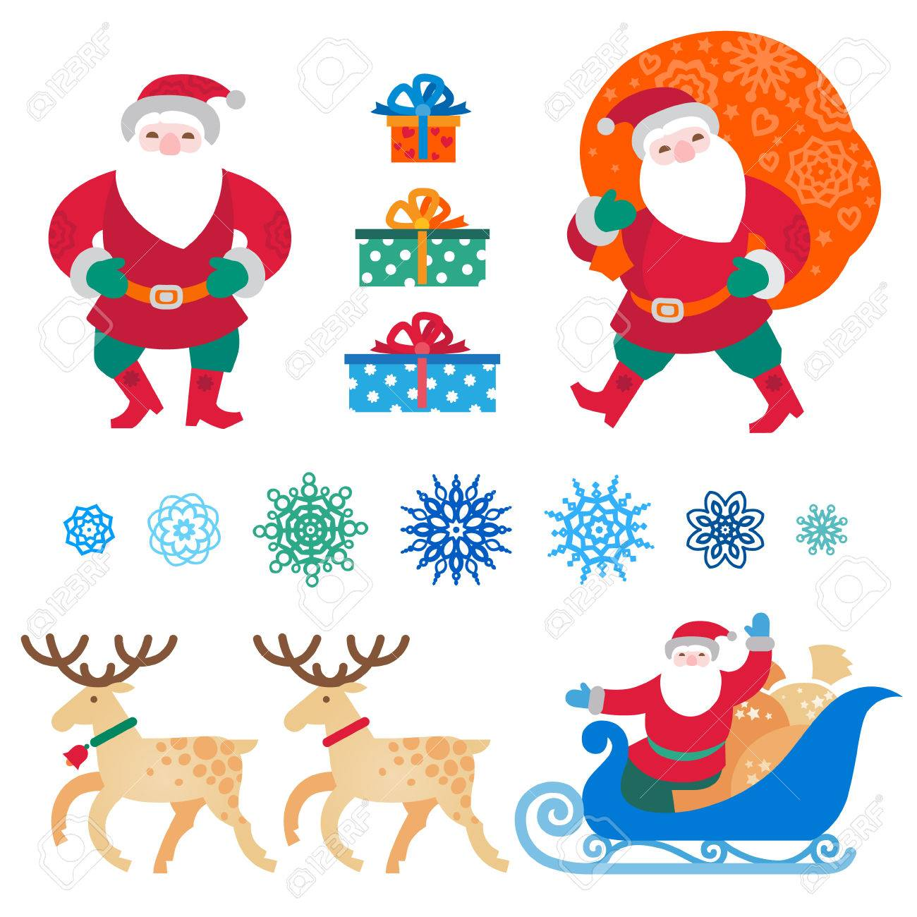 Christmas Vectors.Bright Set Of Christmas Vector Elements Winter Holidays Icons