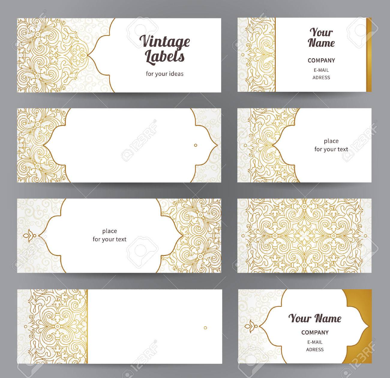 Vector set of ornate horizontal cards in oriental style line line art eastern floral decor template vintage frame for greeting card business card labels and tags with place for text reheart Image collections