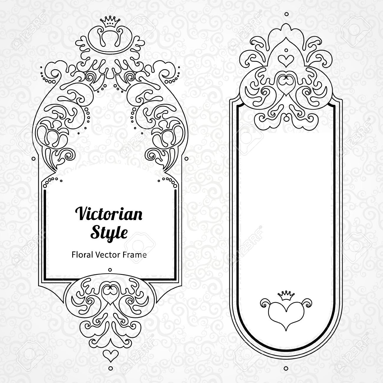 49343951 Vector decorative frame in Victorian style Elegant element for design template place for text Outlin Stock Vector vector decorative frame in victorian style elegant element for on frame outline template