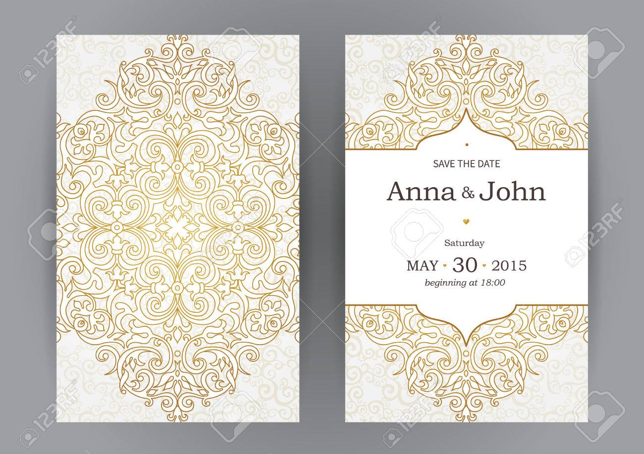 Vintage ornate cards in oriental style line art eastern floral line art eastern floral decor template frame for birthday and greeting card wedding invitation vector golden border with place for text stopboris Images