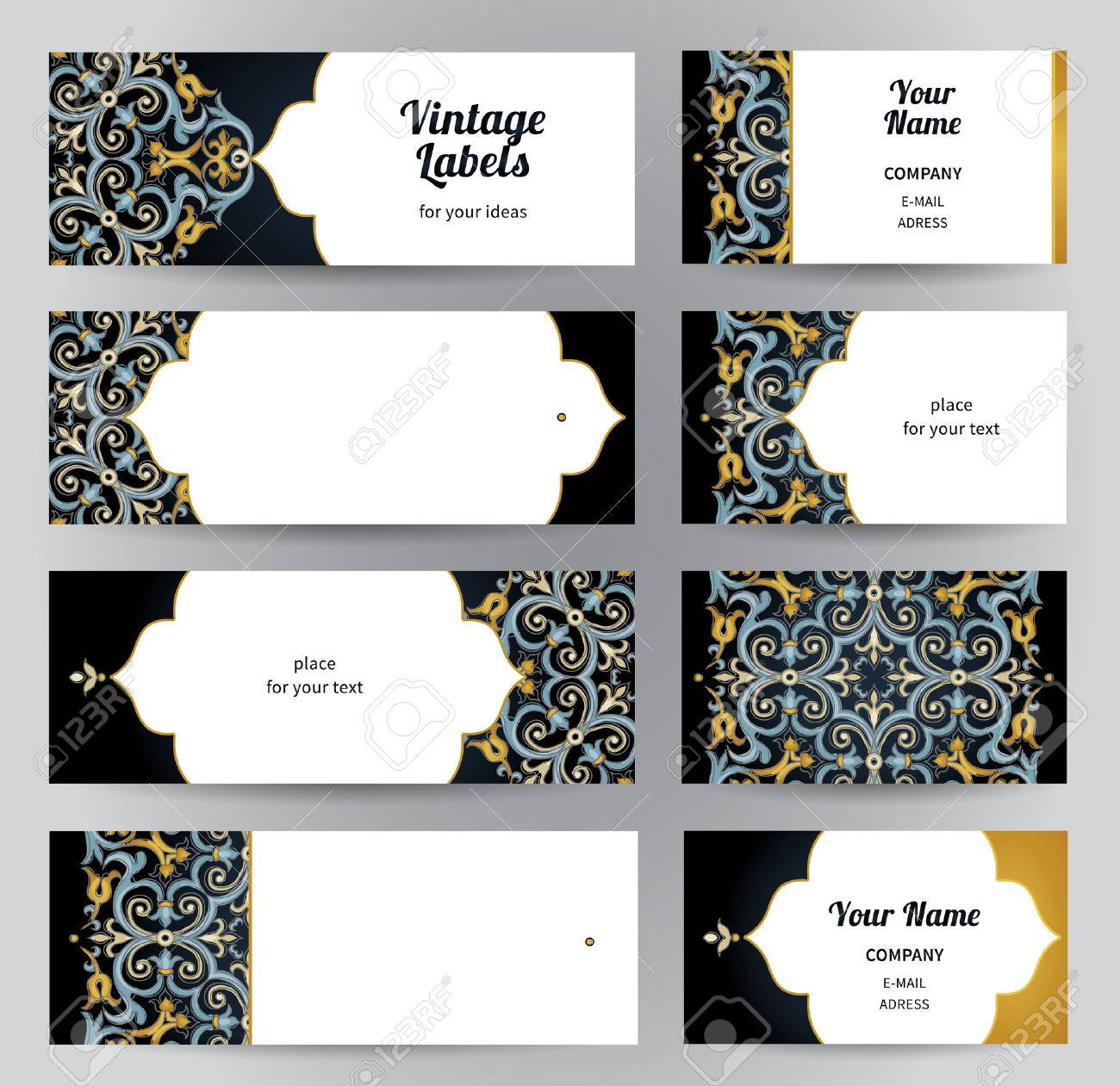vector set of ornate horizontal cards in oriental style bright