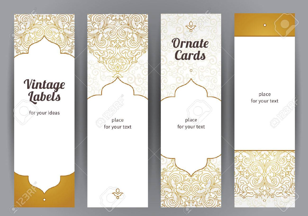 vector set of ornate vertical cards in oriental style golden