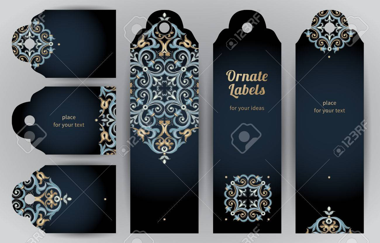 Ornate cards in oriental style. Bright Eastern floral decor on dark backdrop. Template vintage frame for greeting card and wedding invitation. Vector labels with place for your text. - 49344600