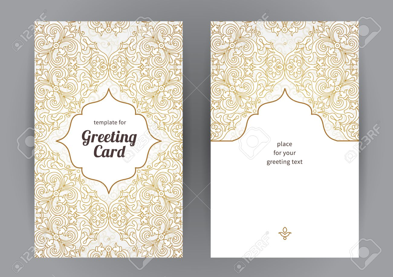 Vintage ornate cards in oriental style. Line art Eastern floral decor. Template frame for birthday and greeting card, wedding invitation. Vector golden border with place for text. Easy to use, layered. - 49344609