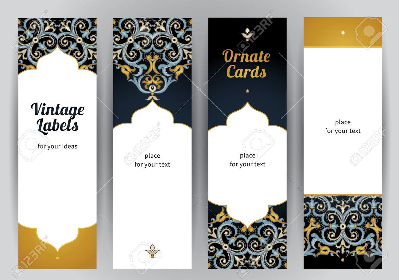 Vector set of ornate vertical cards in oriental style. Bright Eastern floral decor on dark backdrop. Template vintage frame for greeting card and wedding invitation. Labels and tags with place for text. - 49344898
