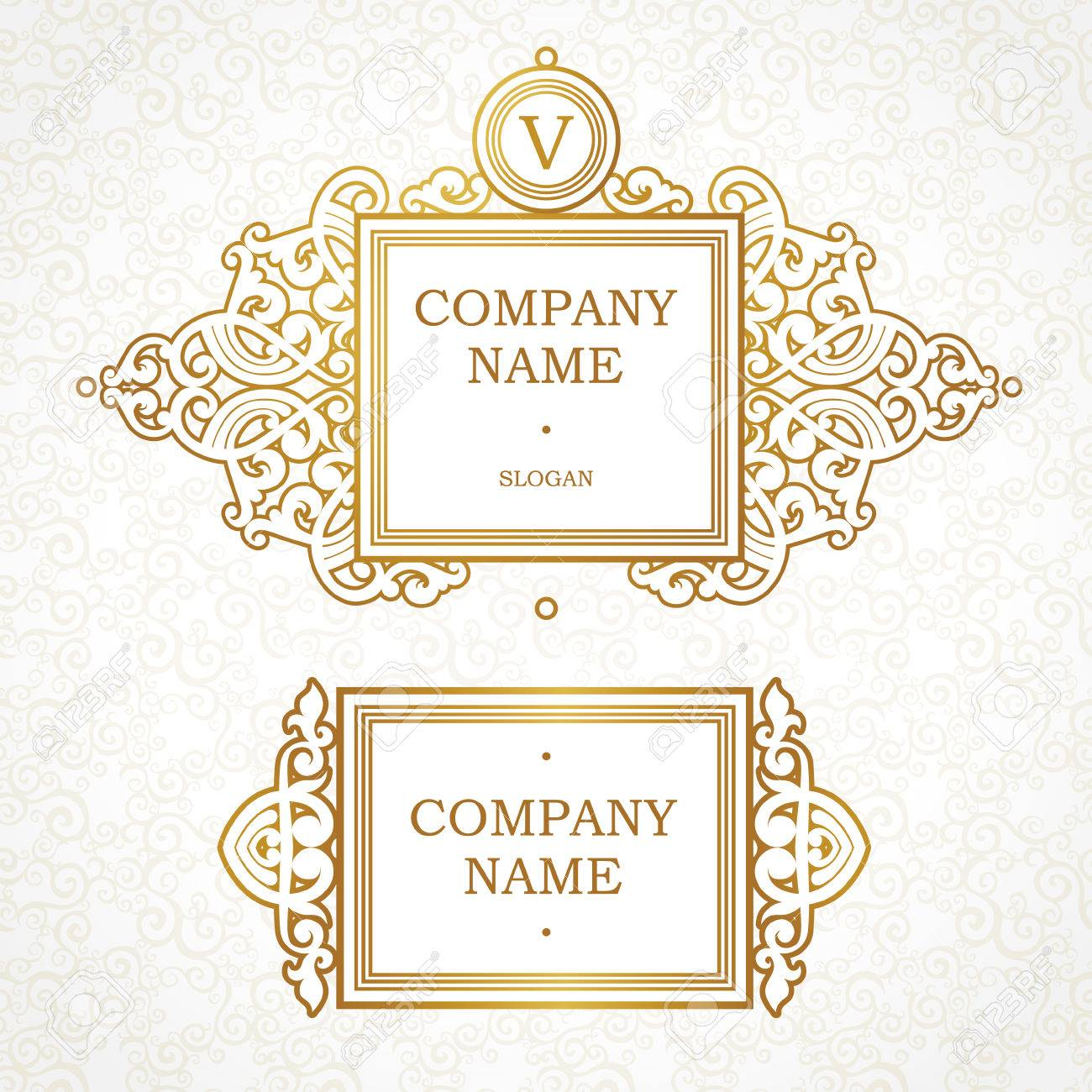 Vector Set Of Logo Template In Victorian Style. Ornate Element ...