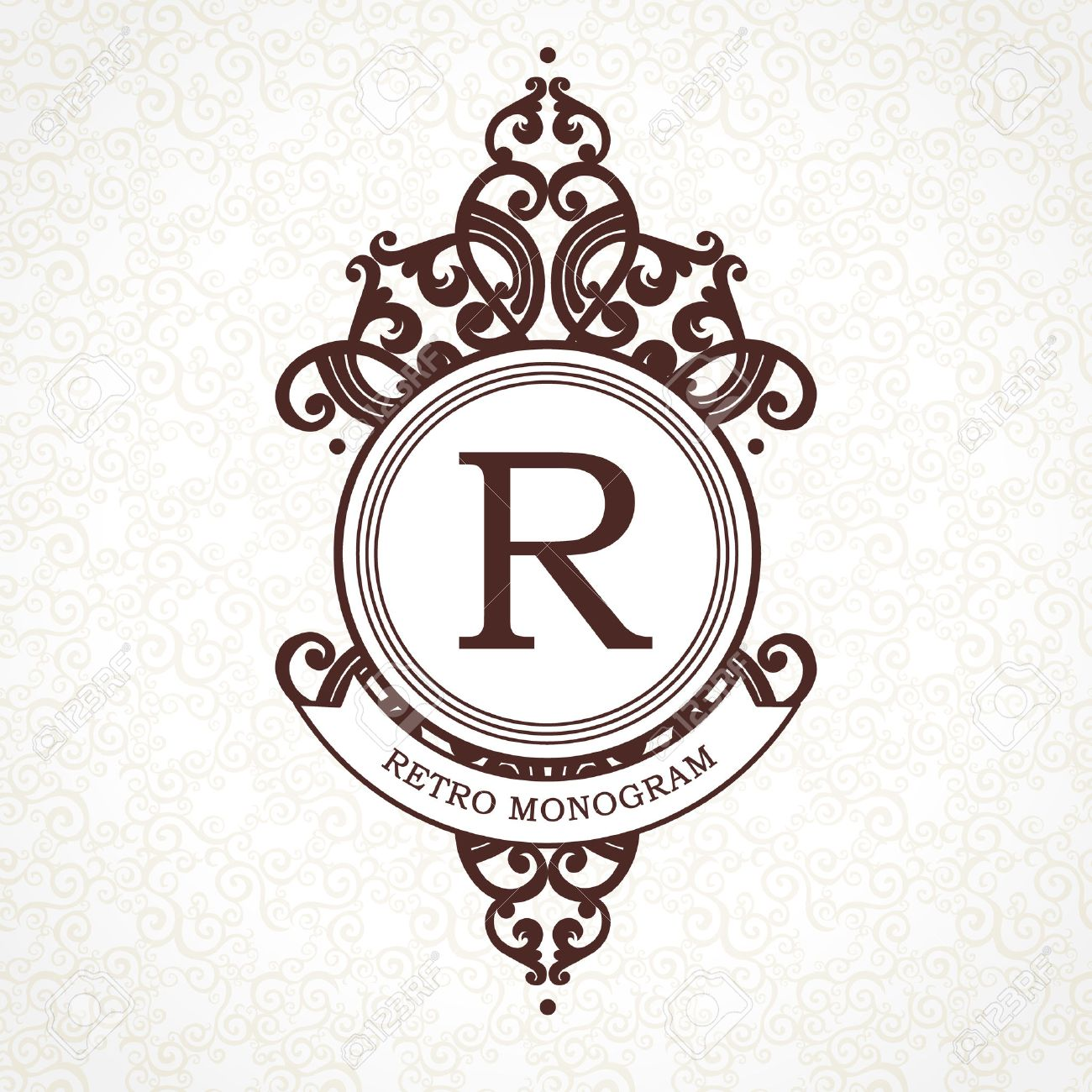 Vector logo template in Victorian style. Ornate element for design. Place for company name and slogan. Ornament floral vignette for business card, wedding invitations, certificate, business sign. - 51133109
