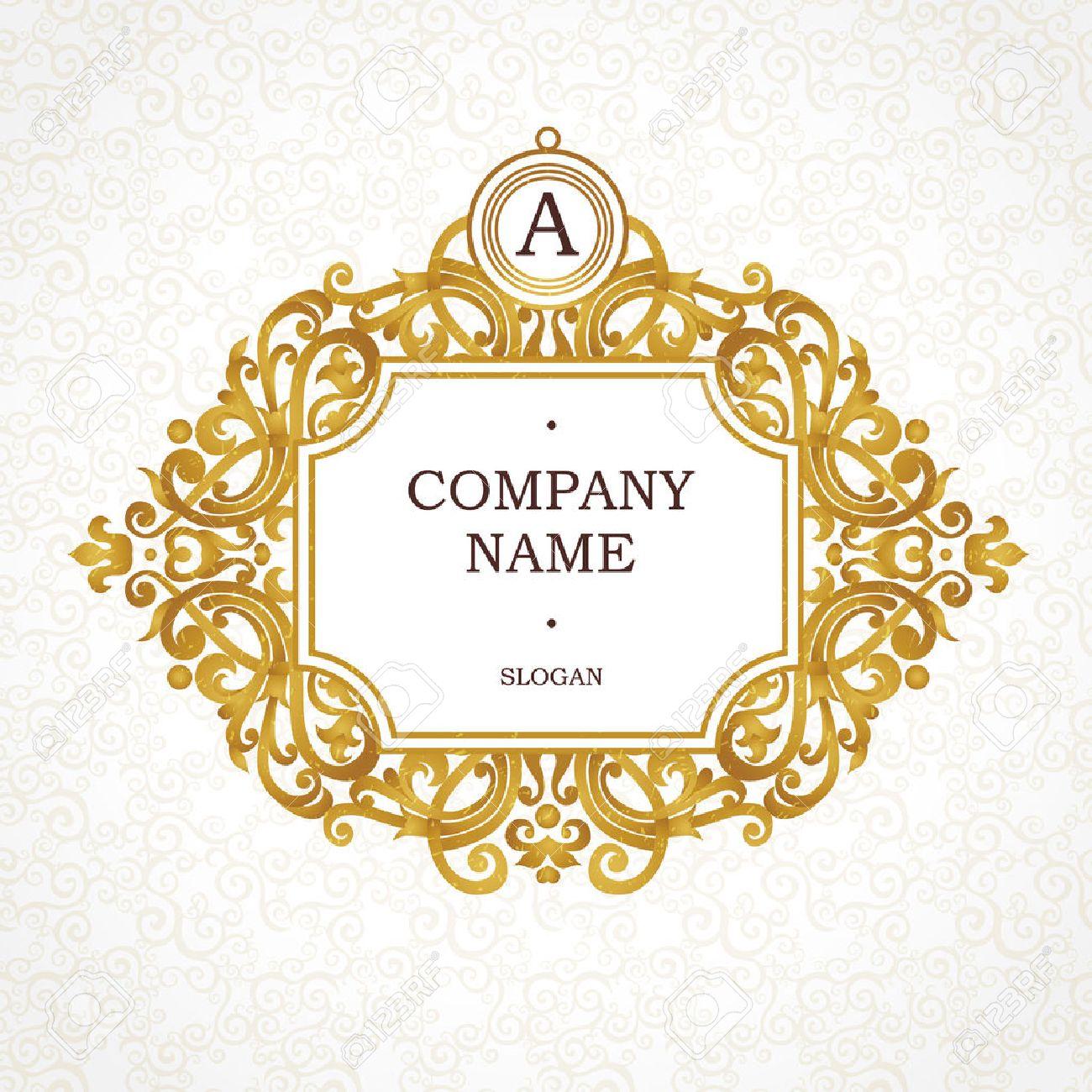 Place Pour Le Nom De Lentreprise Et Slogan Vignette Floral Ornement Carte Visite Invitations Mariage Certificat