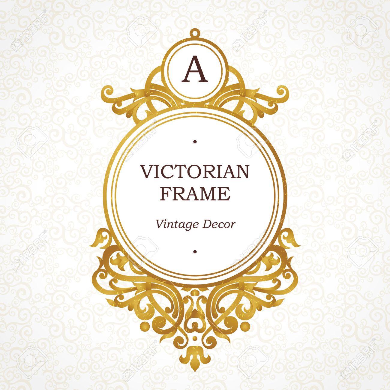 Vector Marco Dorado En Estilo Victoriano Elemento Adornado Para El Diseño Lugar Para El Nombre De La Empresa Y El Eslogan Ornamento Viñeta Floral