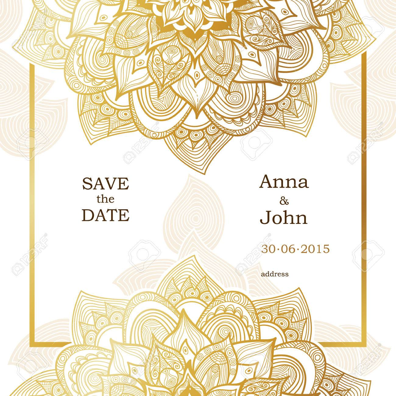 golden vintage ornate cards outline floral decor in eastern style template frame for save