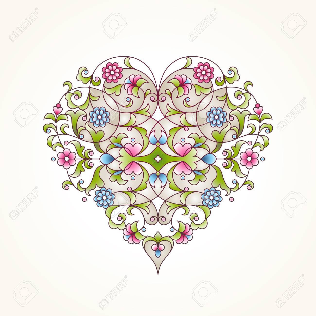 Ornate Vector Heart In Eastern Style. Elegant Element For Design ...