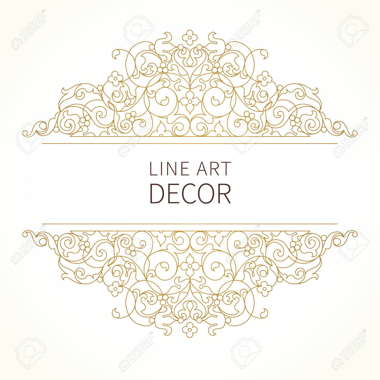 Vector floral vignette in Eastern style. Ornate element for design. Lace horizontal decor. Golden ornament for invitations, birthday and greeting cards, thank you message, certificate, logo template. - 52812492