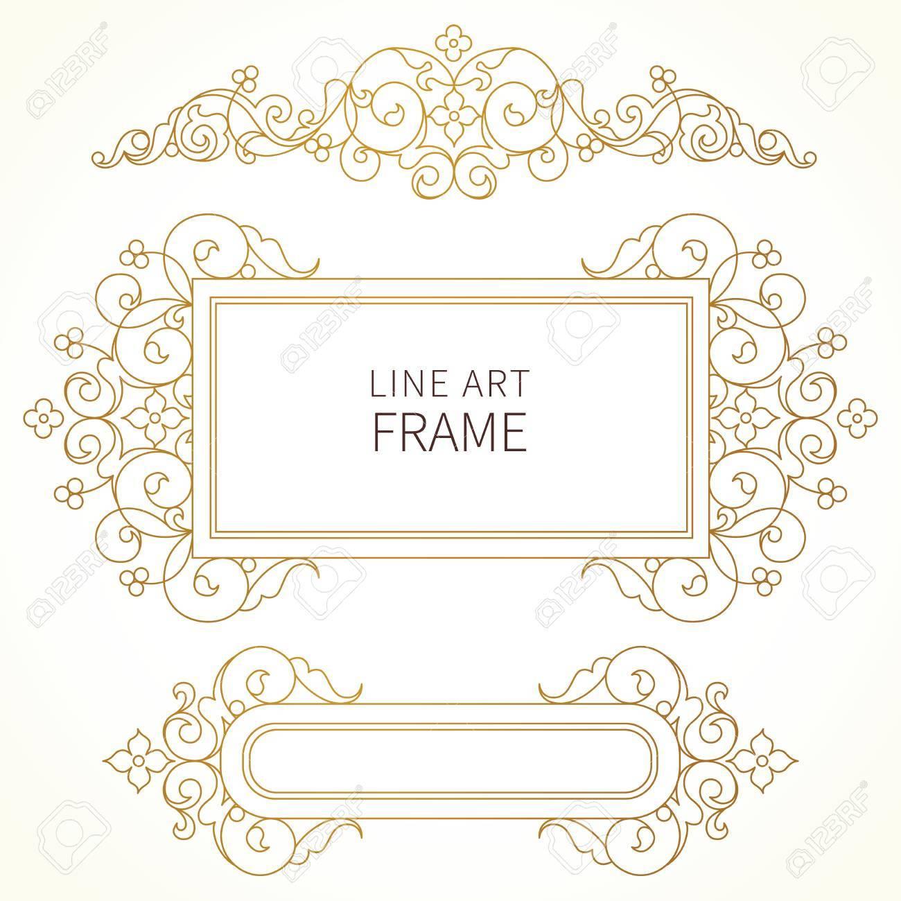 Vector Dekorative Linie Kunst Rahmen Für Design-Vorlage. Elegante ...