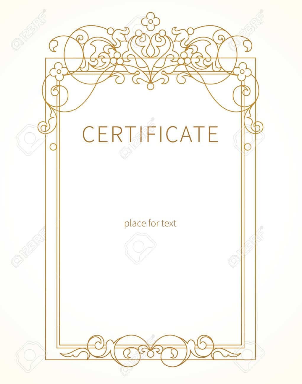 Vector line art frame in eastern style certificate template vector vector line art frame in eastern style certificate template with golden tracery elegant element for design outline border stopboris Gallery