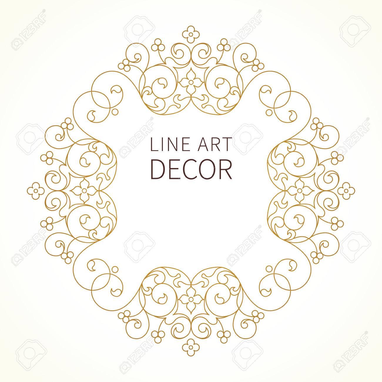 Línea Decorativa Marco Del Arte Del Vector Para El Diseño De La ...