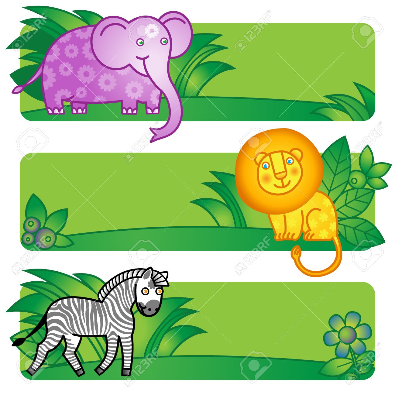 Bright Cards With Cute Animals From Jungle Place For Your Text