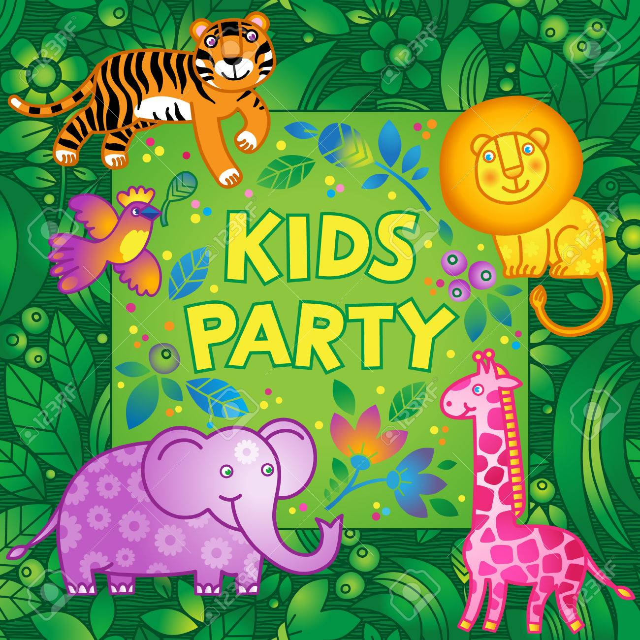 Bright vector pattern with jungle animals kids party design bright vector pattern with jungle animals kids party design template template for invitation stopboris Images