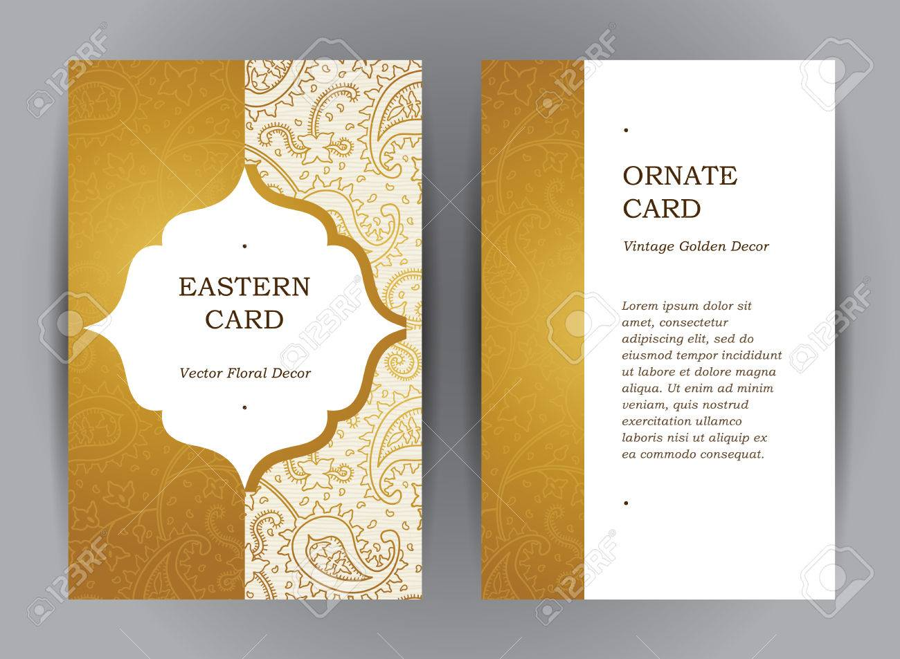 Vector set of ornate vertical vintage cards. Outline golden decor in Eastern style. Template frame for save the date and greeting card, wedding invitation, leaflet, poster. Ornamental border, place for text. - 54592580