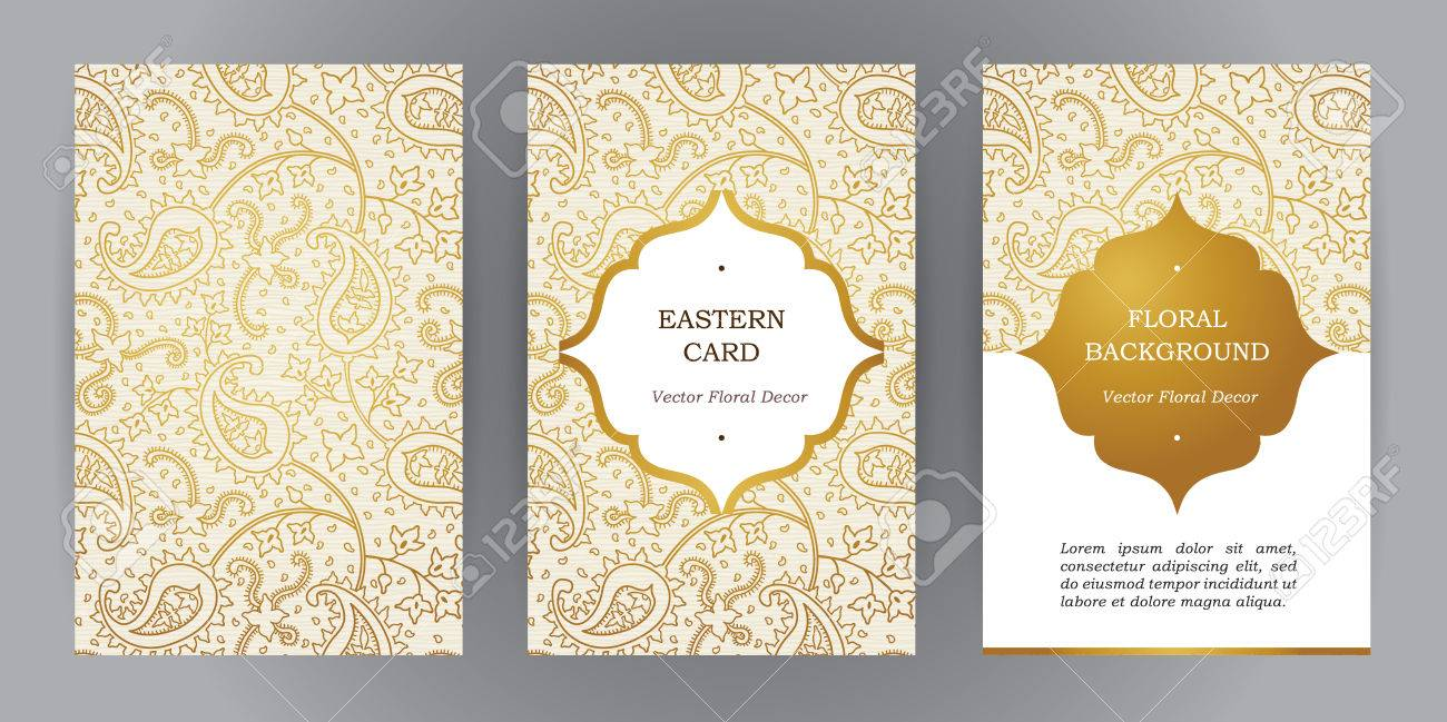 Vector set of ornate vertical vintage cards. Outline golden decor in Eastern style. Template frame for save the date and greeting card, wedding invitation, leaflet, poster. Ornamental border, place for text. - 54592600