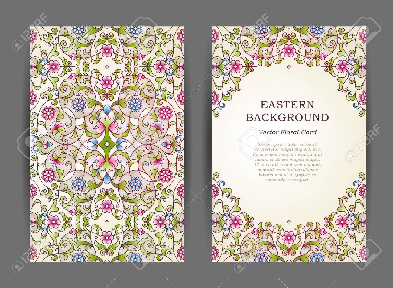 Aufwändige Vintage-Karten. Elegante Blumendekor In Eastern Style ...
