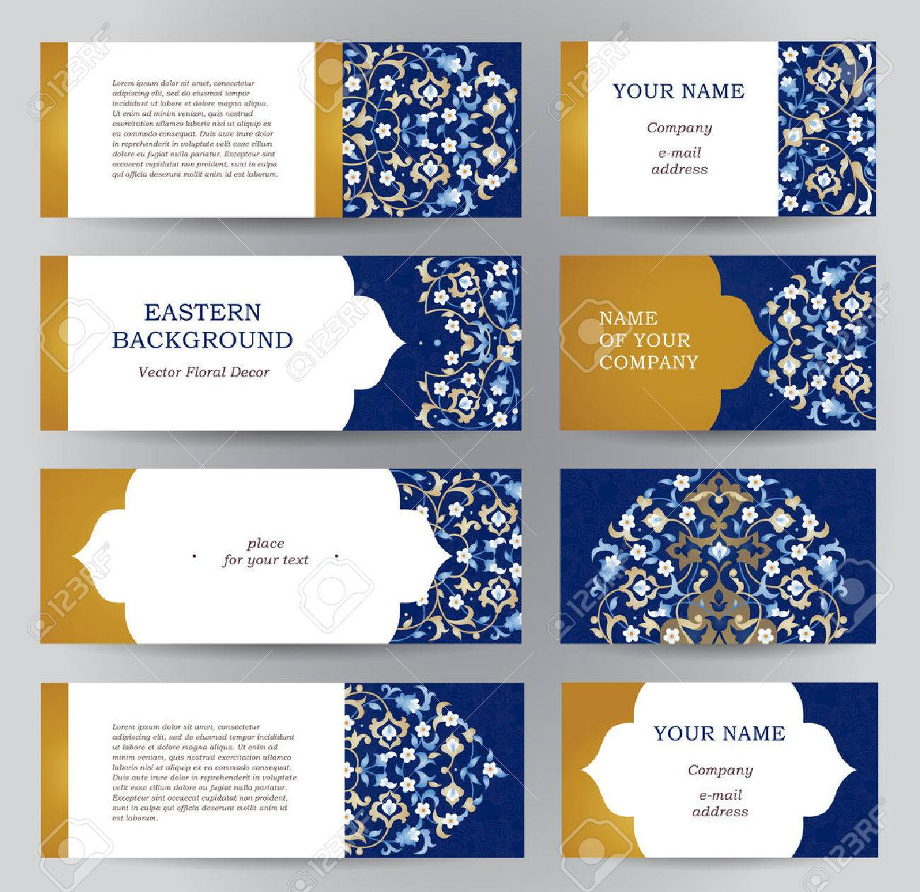 Vector set of ornate horizontal cards in oriental style. Eastern floral decor. Template vintage frame for Ramadan Kareem greeting card, business card. Labels and tags with place for text. - 56557924
