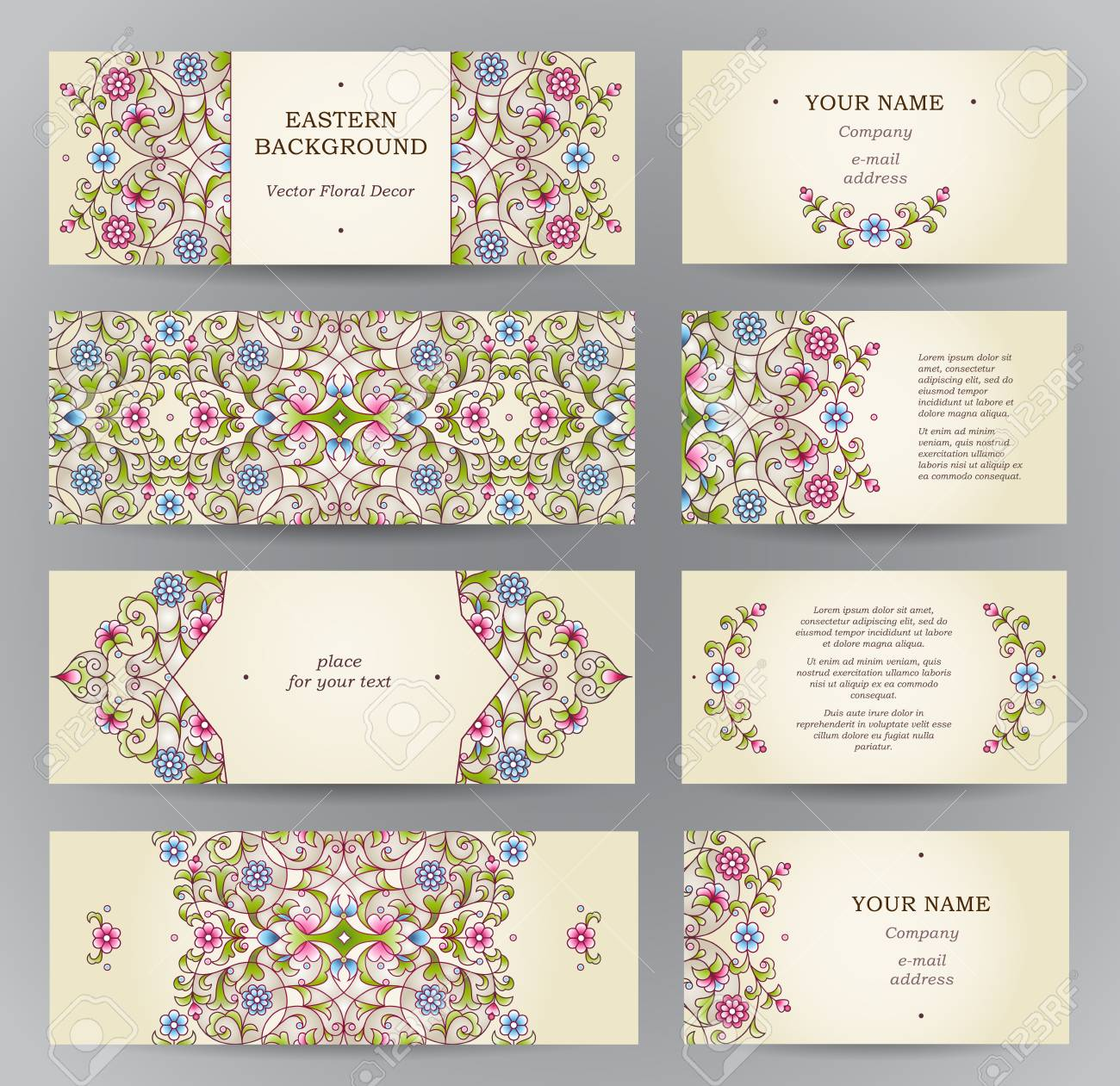 Vector set of ornate horizontal cards in oriental style eastern eastern floral decor template vintage frame for ramadan kareem greeting card business card labels and tags with place for text junglespirit Gallery