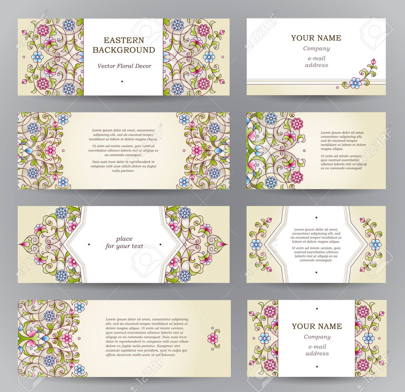 Vector Set Of Ornate Horizontal Cards In Oriental Style. Eastern ...