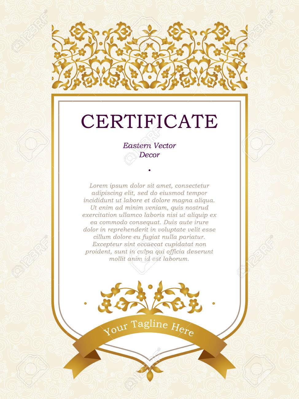 Vector Floral Dans Le Style Oriental Modele De Certificat D