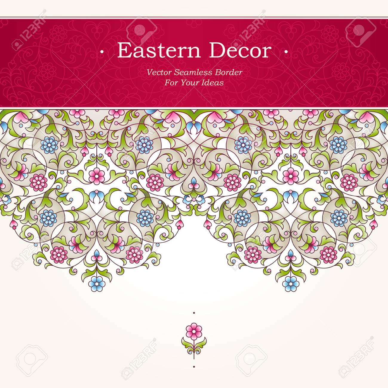 Vector Seamless Border In Eastern Style. Ornate Element For Design ...
