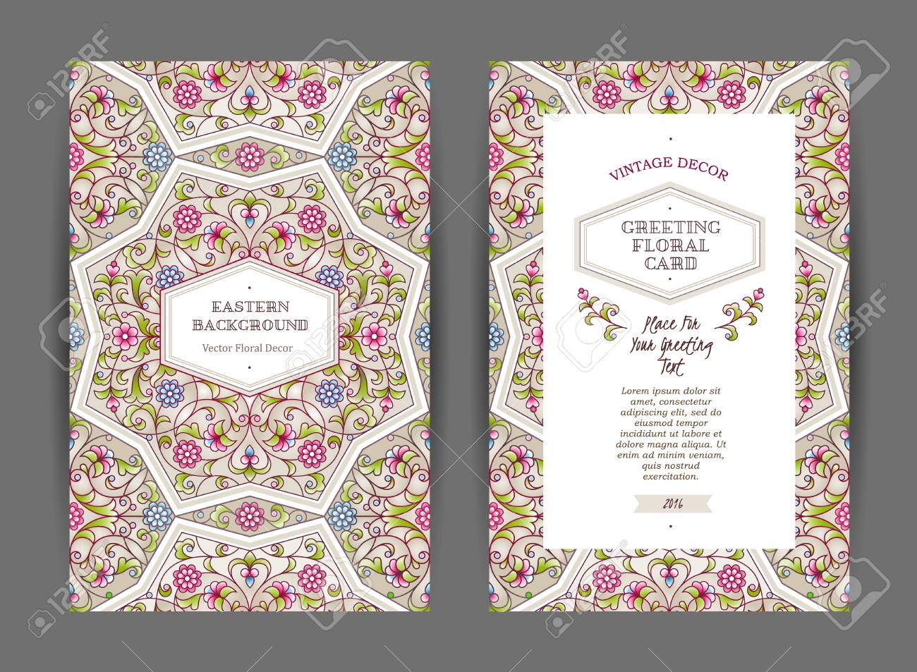 Ornate vintage cards. Bright floral decor in Eastern style. Template frame for save the date, birthday, greeting card, wedding invitation, certificate, leaflet, poster. Vector border with place for text. - 62037305