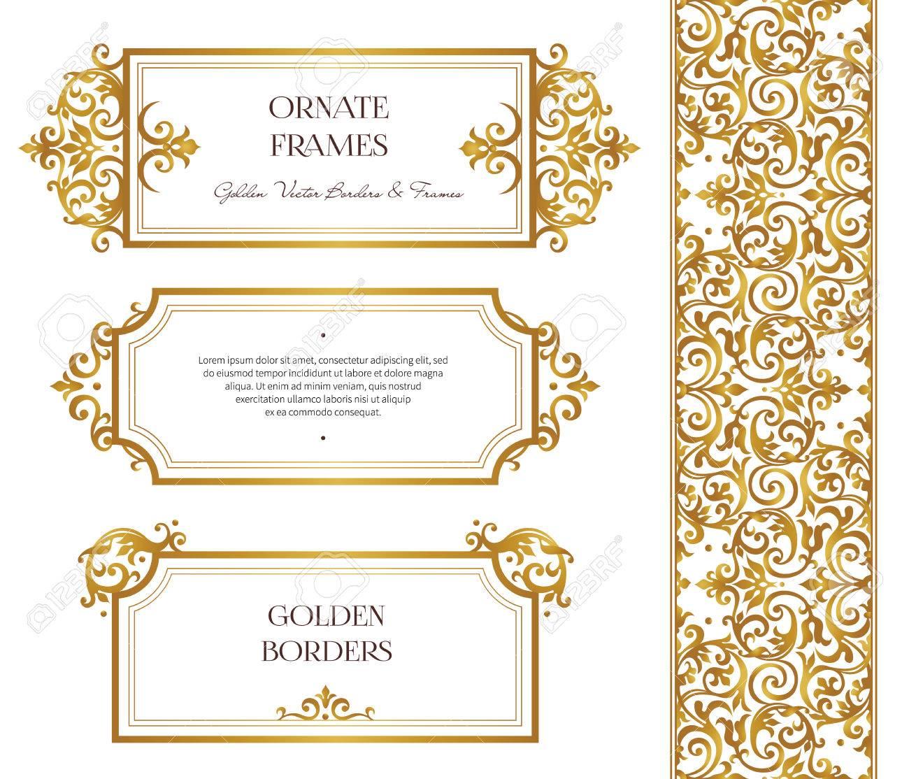 vector set of golden frames and border for design template elements
