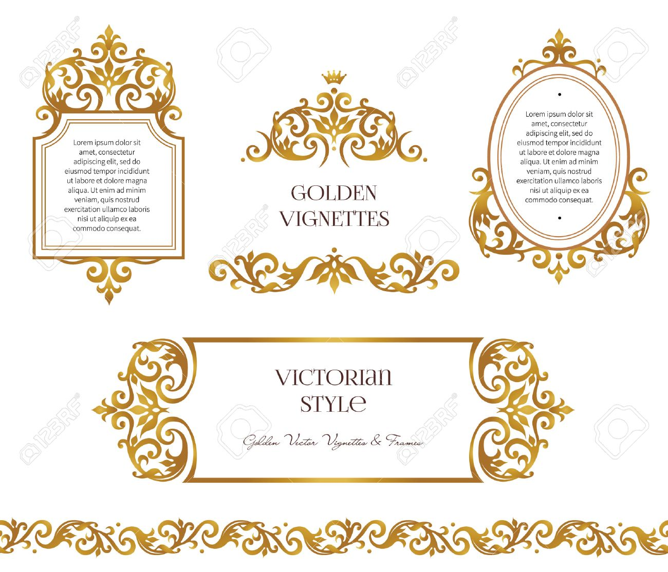 Vector Set Frames And Vignette For Design Template Element In