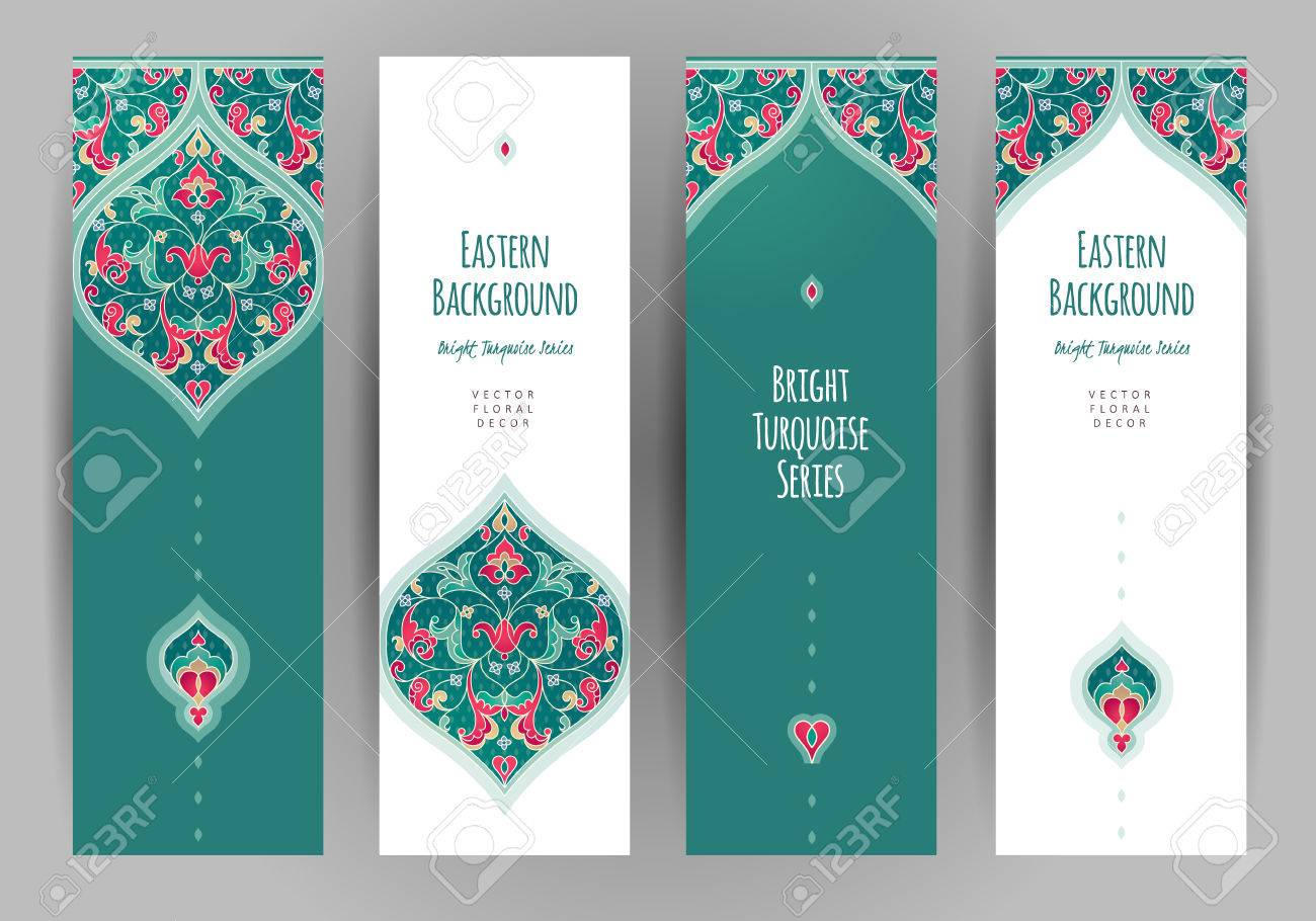 Vector set of ornate vertical cards in oriental style. Turquoise Eastern floral decor. Template vintage frame for greeting card and wedding invitation. Labels and tags with place for text. - 65738325