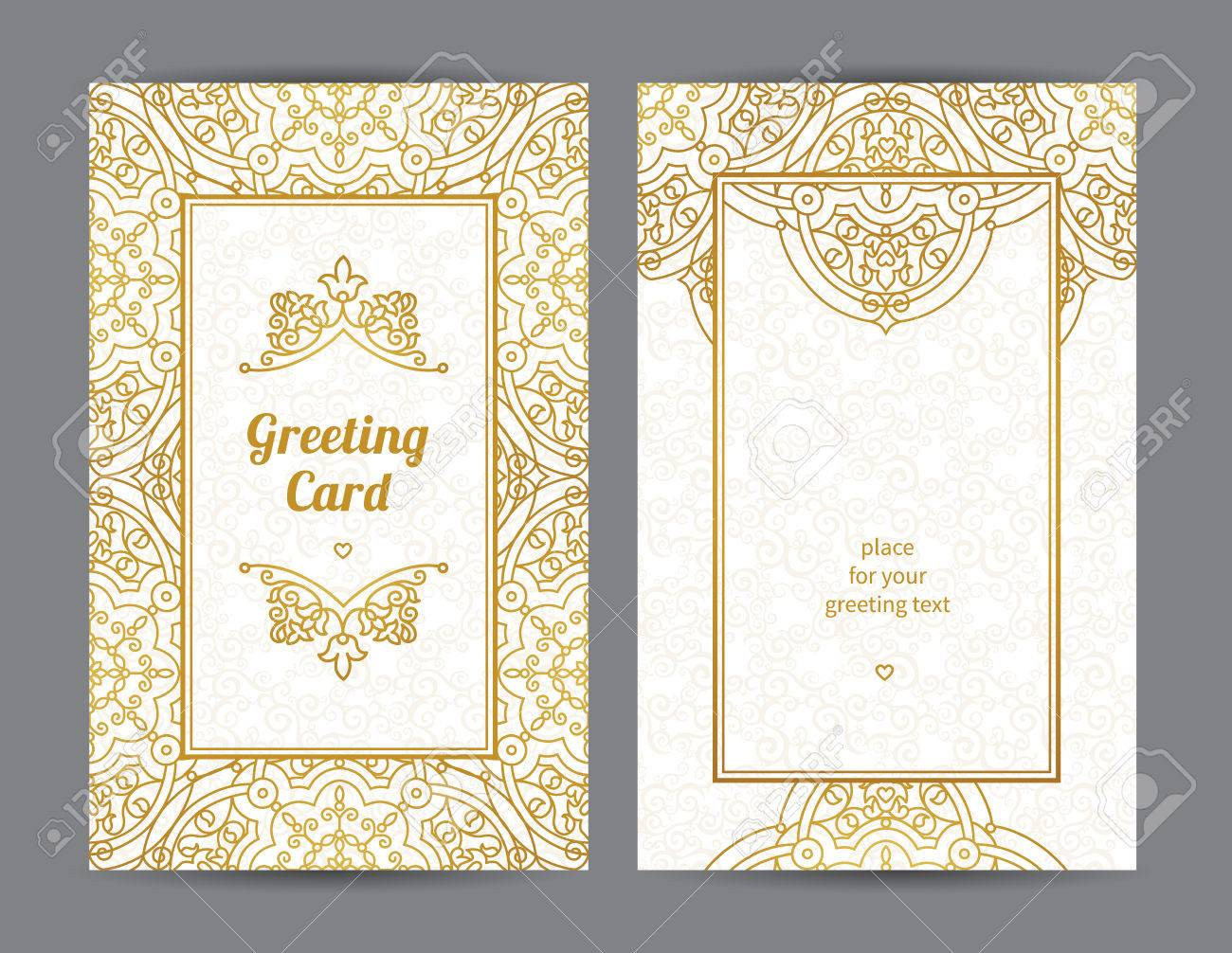 vintage ornate cards in eastern style golden decor with floral
