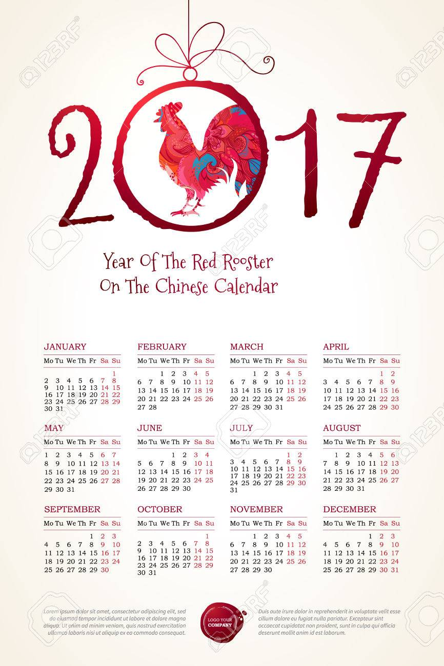 Vector calendar for 2017 illustration of red rooster symbol of illustration of red rooster symbol of 2017 on the chinese biocorpaavc