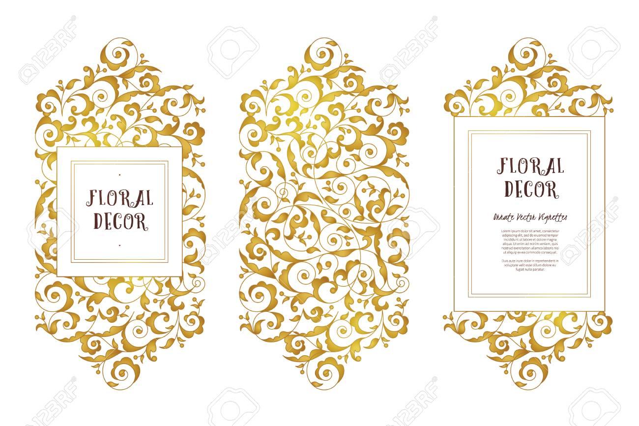 Conjunto De Vectores De Marcos De Oro Y Fronteras Para La Plantilla ...