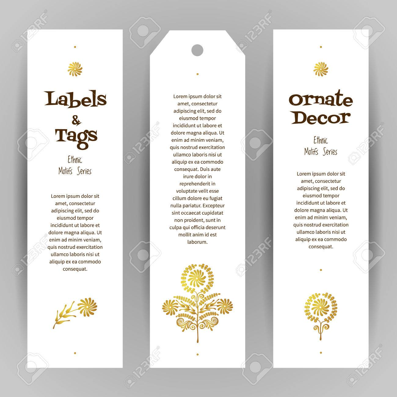 vector set of ornate luxury vertical tags in ethnic style eastern