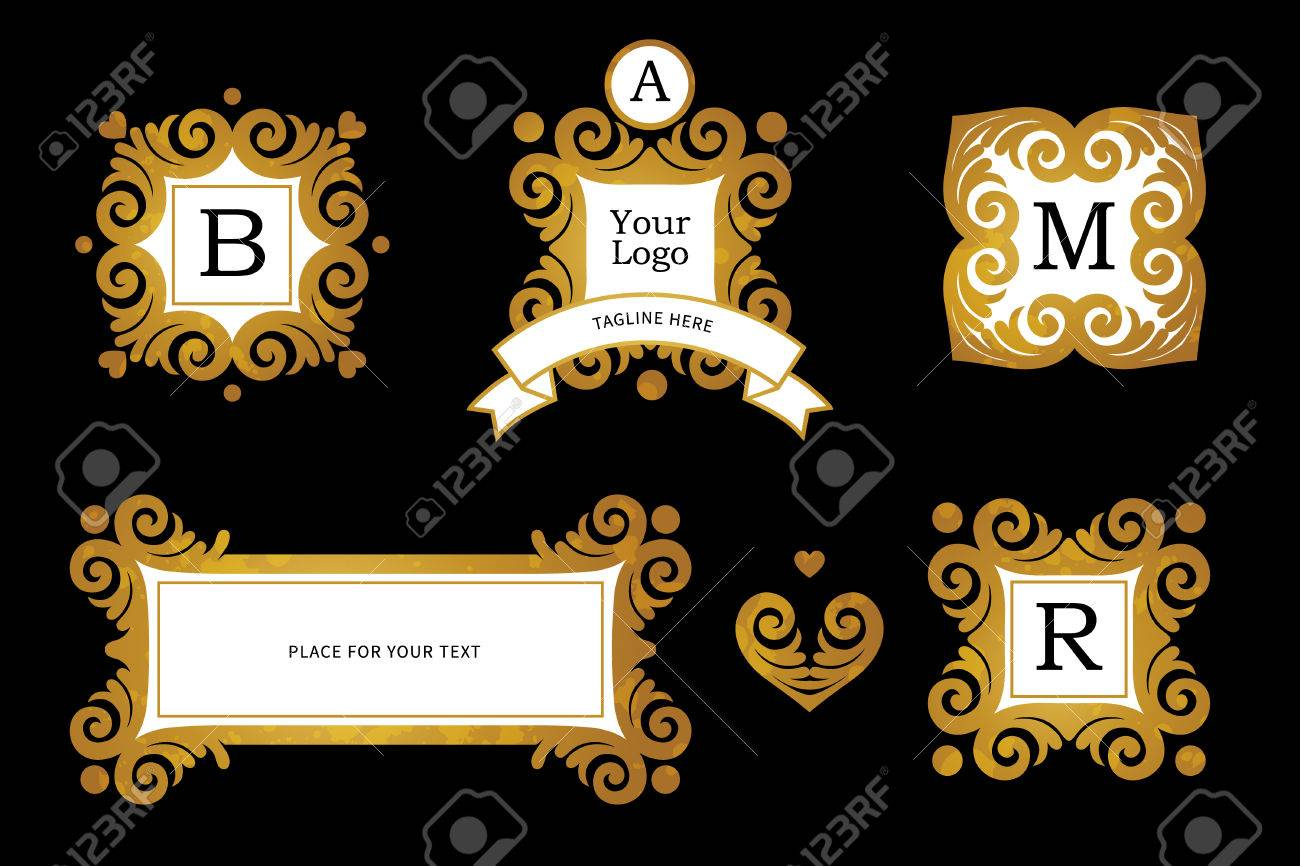 Vector set with golden frames and vignettes ornate element for vector set with golden frames and vignettes ornate element for design place for company yadclub Image collections