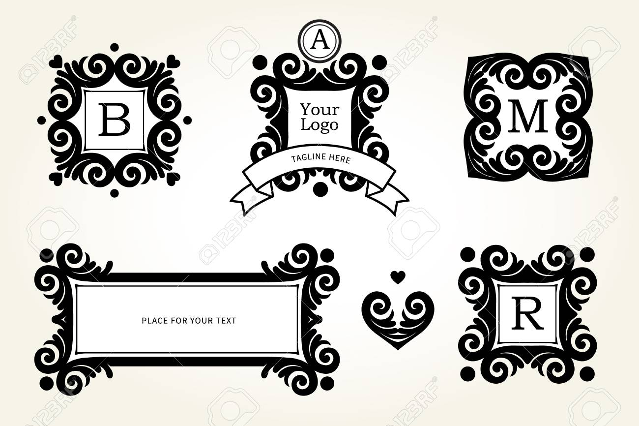 Vector set with black frames and vignettes ornate element for vector set with black frames and vignettes ornate element for design place for company yadclub Image collections