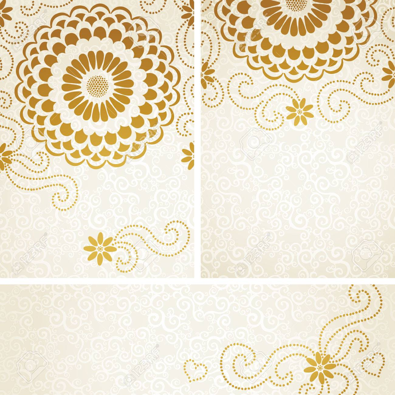 Vintage Invitation Cards With Large Flowers And Curls Template