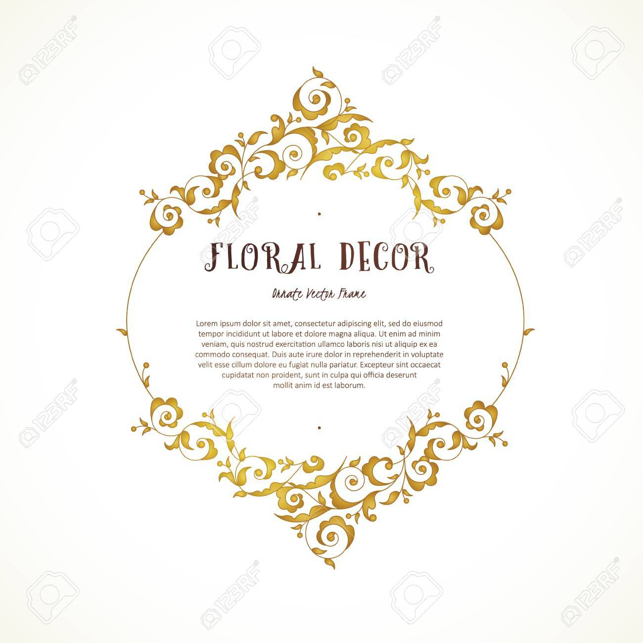 Vector vintage frame vignettes in eastern style ornate floral ornamental illustration for invitation birthday and greeting cards thank you message place for text golden luxury decor stopboris Choice Image