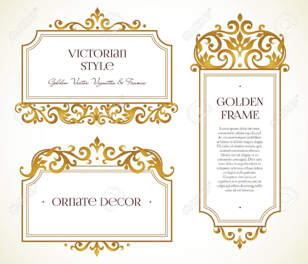 Vektor-Set Rahmen Und Vignette Für Design-Vorlage. Elemente Im ...
