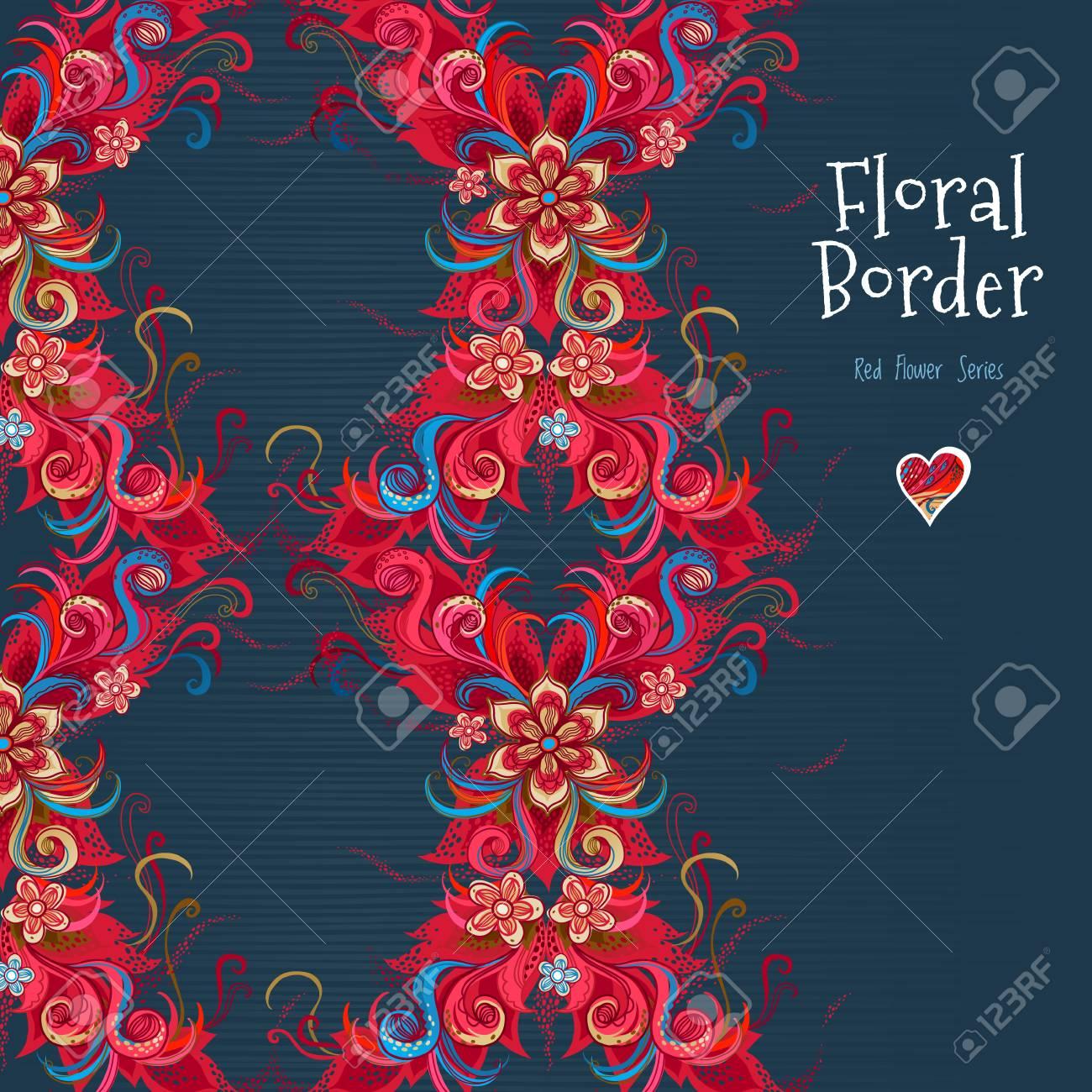 Vektor Verzierten Nahtlose Grenze. Romantisches Blumendekor ...