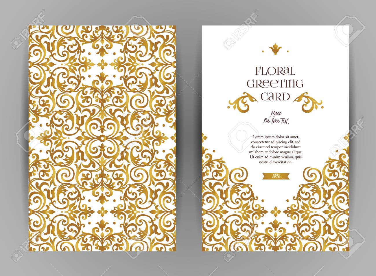 Ornate vintage cards. Golden floral decor in Victorian style. Template frame for save the date and greeting card, wedding invitation, certificate, leaflet, poster. Vector border with place for text. - 71898538