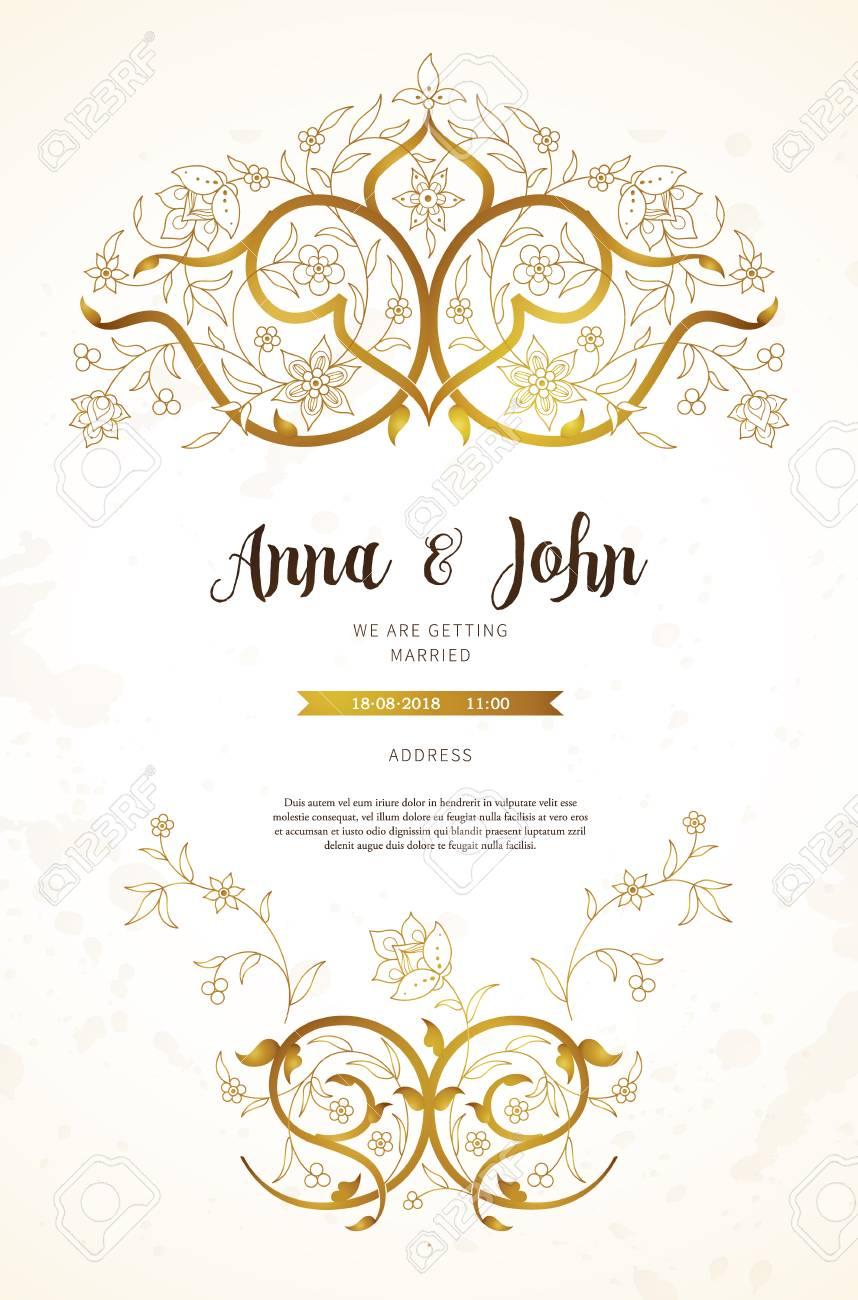 Vector Vintage Wedding Invitation; Ornate Frame For Design Template ...